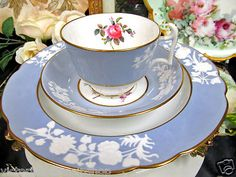Copelands Spode Tea Cup and Saucer Trio Maritime Rose Embossed Raised Bands