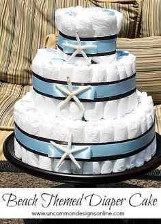 Beach-themed-baby-shower-diaper-cake