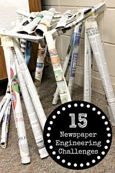 The Educators Spin On It Newspaper Engineering Challenges for Kids STEM at Home in the Classroom Engineering Challenges, Engineering Projects, Stem Challenges, Stem Projects, Science Projects, Stem Science, Science For Kids, Science Room, Primary Science