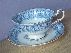 Antique Bone China teacup and saucer Paragon blue by ShoponSherman