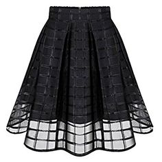 Jiayiqi Fashion Organza Pleated Skirt Plain Casual Party Midi Skirt for Women: Amazon.co.uk: Clothing