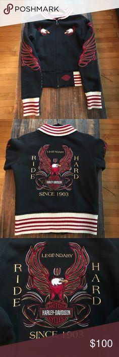 Harley-Davidson Varsity Jacket Sm Harley Davidson Embroidered and Lined Varsity Jacket SM Black Red Cream Harley-Davidson Jackets & Coats