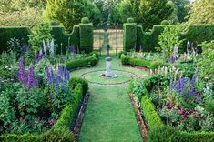 Highgrove Gardens: The sundial garden is packed with delphiniums.