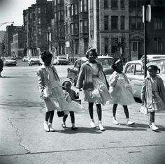 Girls dressed for #Easter Sunday, #Chicago, c. #1962. Photograph by Stephen Deutch. ICHi-68472