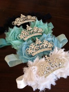 Baby Crown headband, Flower Tiara, Rhinestone Baby Headband, Shabby Flower Headband, Tiara Headband by luxieblooms on Etsy https://www.etsy.com/listing/176173116/baby-crown-headband-flower-tiara