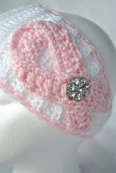 Breast Cancer Awareness Light Pink Ribbon and White by KissCrochet, $25.00