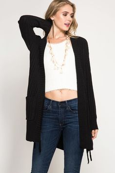 long sleeve cardigan with pockets in black (mint color is just to show tie detail)