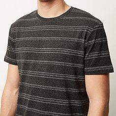 Grey marl stripe print jacquard t-shirt - print t-shirts - t-shirts / tanks - men
