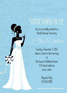 Something Blue Bridal Shower Flat Invitations by JLOriginalDesigns