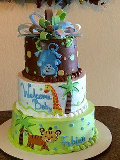 Jungle baby shower cake :)