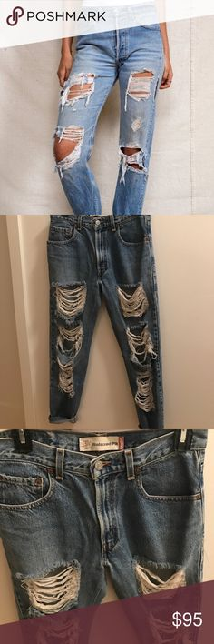 Levi's Vintage 550 Distresses Ankle Jeans Boyfriend cut distressed jeans! So amazing but have a couple pairs of similar style. Purchased from vintage boutique in Los Angeles. Perfect condition, worn once! Levi's Jeans Ankle & Cropped