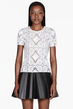 BURBERRY PRORSUM White Sequined Lace T-shirt