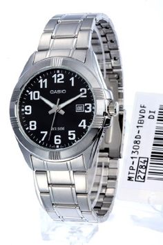 Casio Men's MTP1308D-1BV Silver Stainless-Steel Quartz Watch with Black Dial >>> Want additional info? Click on the image.