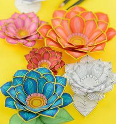 ❤ Kiszínezhető 3D papír virágok - nyomtatható mintaívvel ❤Mindy -  kreatív ötletek és dekorációk minden napra