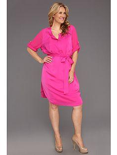 DKNYC Plus Size 3/4 Sleeve Half Placket Dress
