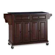Crosley Rolling Kitchen Cart / Island With Solid Black Granite Top