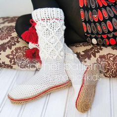 Women rustic boots with rope soles,slippers   Craftsy