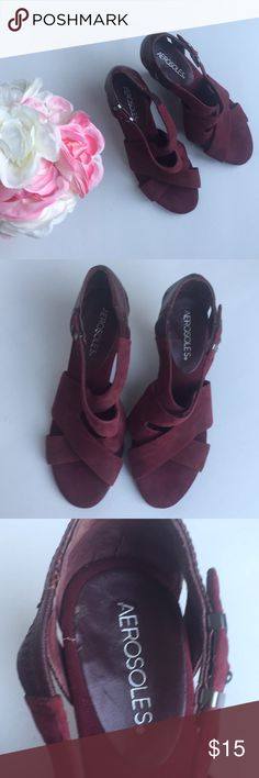 Aerosole Plum Red Sandals Good Condition  Nice Plum Red  Hardly worn there just a small circle on right shoe (see picture) Areosoles Shoes Sandals