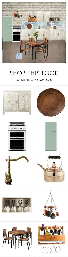 """""""Kitchen"""" by cachomy ❤ liked on Polyvore featuring interior, interiors, interior design, home, home decor, interior decorating, Home Decorators Collection, Pottery Barn, Hotpoint and Smeg"""