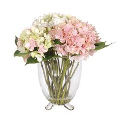 A delicate touch of classical floral display to add to your interior.Our soft pink,white and lime cottage arrangement would fit into a traditional or contemporary home. Artificial Flowers For Sale, Hydrangea Arrangements, Classic Garden, Container Flowers, Calla Lily, Luxury Interior, Glass Vase, Pink White, Decor