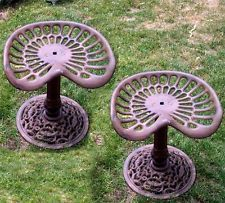 Tractor Seat Full Size Pair Cast Iron Garden Stools