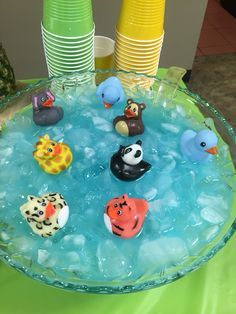 Jungle baby shower blue Kool Aid punch bowl