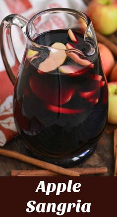 Fall Apple Sangria. A combination of red wine, sweet apples, brandy, cinnamon, and cloves makes this the best seasonal cocktail. #drink #sangria #apple #cocktail #fallcocktail #redwine Brandy Sangria, Apple Sangria, Fall Sangria, Red Wine Sangria, Fall Cocktails, Holiday Drinks, Cocktail Drinks, Sweet Sangria Recipe, Red Sangria Recipes