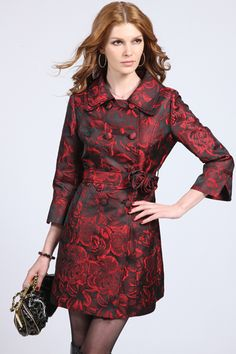 Flowers Printed Black-red Trend Coat from ROMWE