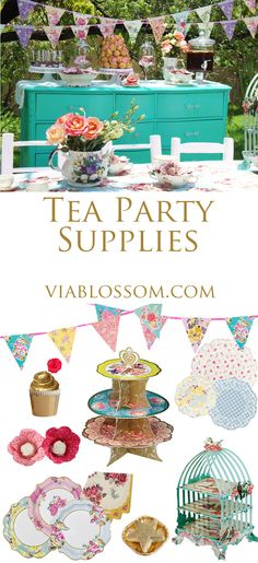 Tea Party Ideas and inspiration at the Via Blossom Blog!  All the party decorations you will need for an afternoon tea party!