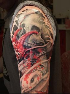 asian half sleeve tattoo designs | Half Sleeve Japanese Skull n Koi Fish Tattoo Design