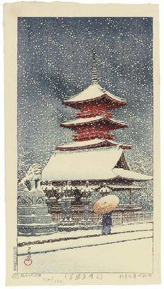 Kawase Hasui - Snow at Ueno Toshogu Shrine woodblock print) Japanese Art Prints, Japanese Artwork, Memes Arte, Japanese Woodcut, Hokusai, Japan Painting, Art Asiatique, Art Japonais, Art Graphique