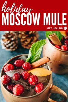 This easy recipe for a Holiday Moscow Mule uses fresh ginger, mint, and cranberry juice making a truly festive cocktail full of holiday cheer! The reason we love this particular recipe is because it is lower in sugar than some other holiday alternatives, and the garnishes are super festive! There are so many holiday drinks SUPER high in calories, but this mule comes in at only 128 calories, so your healthy diet won't be derailed by your cocktail! Enjoy!