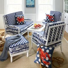 Sunbrella Outdoor Cushions, Outdoor Loveseat, Outdoor Chairs, Outdoor Furniture, Garden Furniture, Mackenzie Childs Inspired, Home Design Living Room, White Couches, Upholstered Furniture