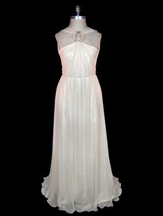 Evening halter dress with open back, ivory silk chiffon over satin, pearl and glass centerpiece, late 1930s