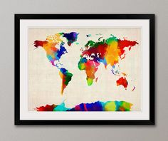 Rolled Paint Map of the World Map Art Print from artPause on Etsy. Saved to Map Art. World Map Painting, World Map Art, Eclectic Kids Decor, Framed Maps, Framed Prints, Canvas Artwork, Canvas Prints, Map Artwork, Australia Map