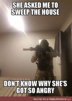 Military and army are the backbone of defense fro any country but as you know us, we are not here to discuss any thing like this , let us show you a collection of Top 20 military memes funny army that are so hilarious. Memes Humor, Gun Humor, Funny Memes, Hilarious, Funny Couples Memes, Wife Humor, Funniest Memes, Humor Quotes, Military Jokes