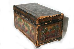 #Vintage 1850s Spanish-Design Embossed Leather Covered Wood Box http://etsy.me/1wbepte @Etsy