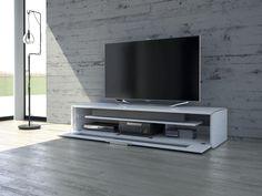meuble tv blanc LB par Schnepel et murs en béton
