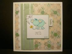 New baby boy card using digi-stamp from Pink Petticoat and First Edition papers