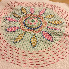 kantha technique flower More