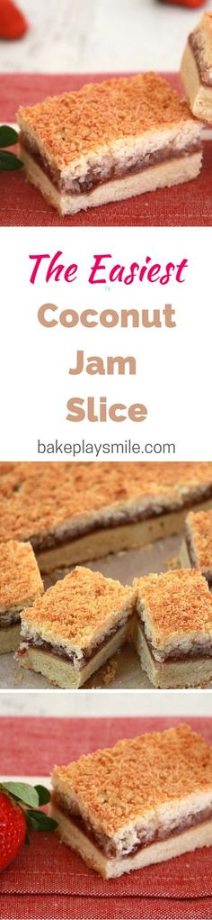 Jam Slice This was always one of my favourite slices growing up - it's such a classic recipe!This was always one of my favourite slices growing up - it's such a classic recipe! Tea Recipes, Sweet Recipes, Baking Recipes, Cake Recipes, Dessert Recipes, Recipies, Yummy Recipes, Yummy Treats, Sweet Treats