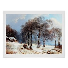 Winter Scene Vintage Painting Christmas / New Year's / Any Occasion Gift Small Poster. Lithograph by Currier and Ives, circa 1900. Matching cards, postage stamps and other products available in the oldandclassic store at zazzle.com