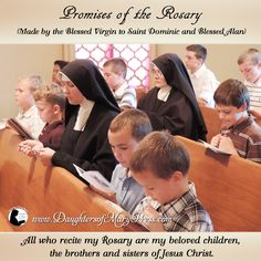 All who recite my Rosary are my beloved children, the brothers and sisters of Jesus Christ. Catholic Catechism, Catholic Saints, Blessed Mother Mary, Blessed Virgin Mary, Christmas Gift Images, Praying The Rosary, Holy Rosary, Rosary Quotes, Saint Quotes