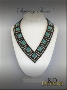 Tutorial/Pattern for Stepping Stones image 1 Beaded Necklace Patterns, Necklace Designs, Beaded Earrings, Beaded Necklaces, Seed Bead Necklace, Seed Bead Bracelets, Peyote Bracelet, Peyote Beading, Diy Bracelet