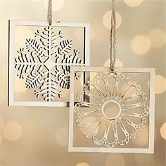 Laser-Cut Snowflake in Frame Ornaments