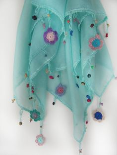 This scarf made by bead and lace handiwork on by SEVILSBAZAAR, $20.00