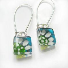 Hand painted daisy glass earrings  aqua and lime  by azurine, $25.00