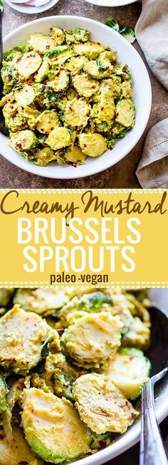 Pan Fried Creamy Mustard Brussels Sprouts Salad! A paleo Brussel Sprouts superfood salad dish tossed in a vegan creamy mustard sauce. Quick to make, packed with fiber, healthy fats, and nourishment! A healthy gluten free side dish to add to your table. @Lindsay Dillon - Cotter Crunch