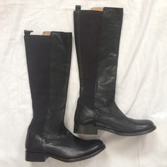 New Frye tall black leather boots Frye black leather and thick elastic. Knee high tall boots. Rounded toe.  New, never worn and in perfect condition. Size 6.5 b. **Open to Offers😉 Frye Shoes Combat & Moto Boots