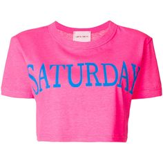 Alberta Ferretti Saturday cropped T-shirt ($180) ❤ liked on Polyvore featuring tops, t-shirts, cut-out crop tops, cotton t shirts, alberta ferretti, cotton crop top and pink tee
